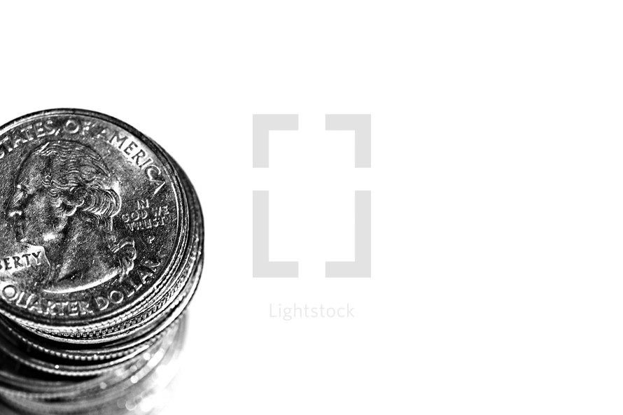 A stack of quarters isolated on white