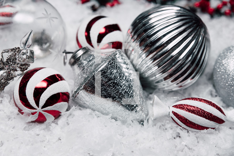 silver and peppermint ornaments