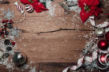 Christmas border on wood