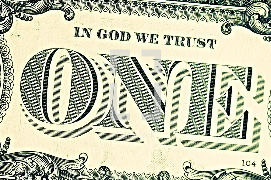 A close up of a one dollar bill