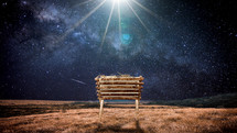 Star of Bethlehem over the manger