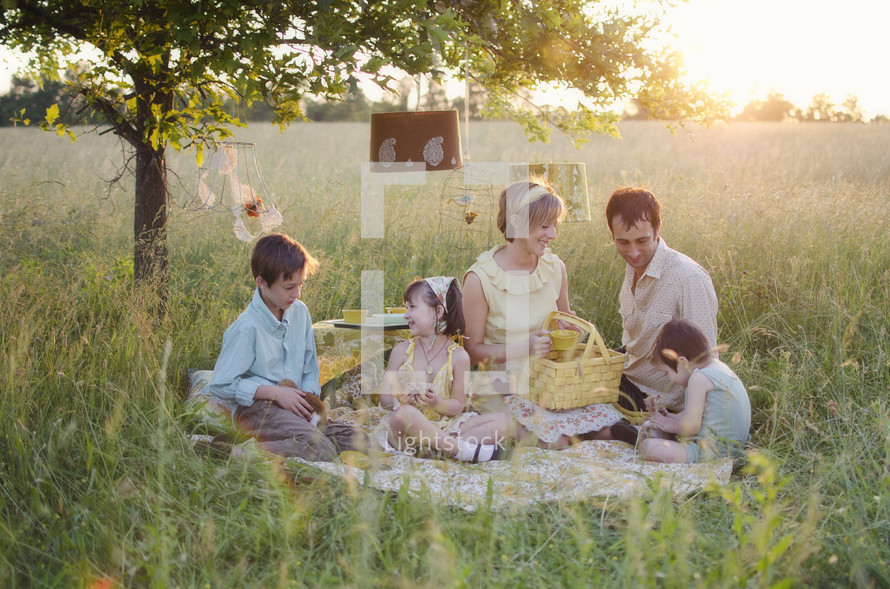 Happy family picnicking in the park