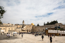 visitors to the western wall in Jerusalem