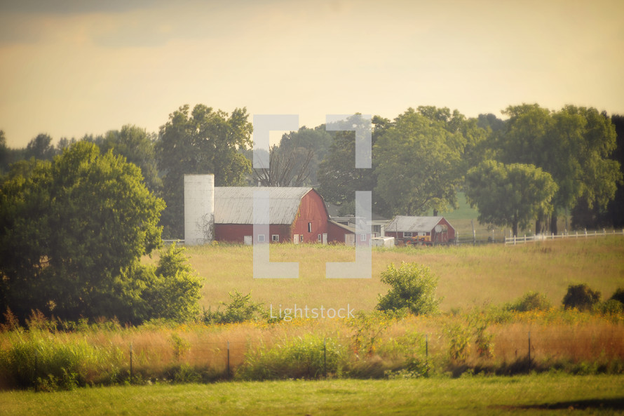 Old barn and house in the country
