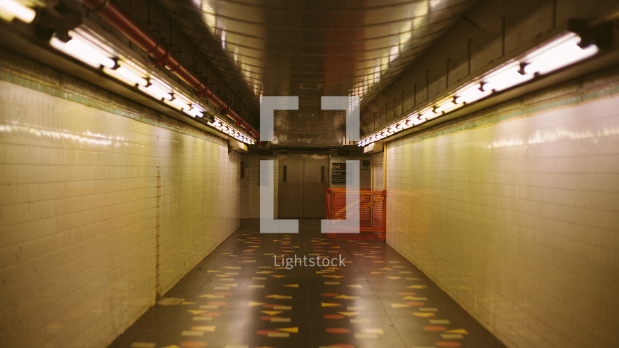 long hallway in a subway