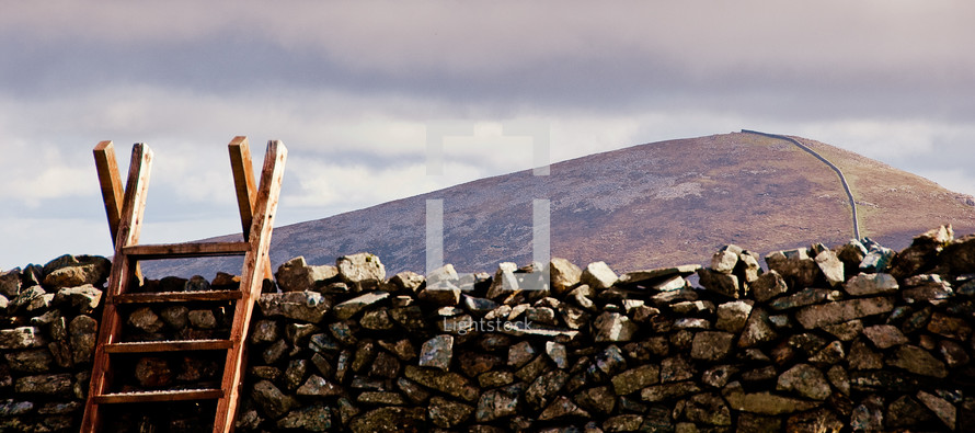 wood ladder going over a dividing wall, ireland, rustic, majestic, mountain, climbing,