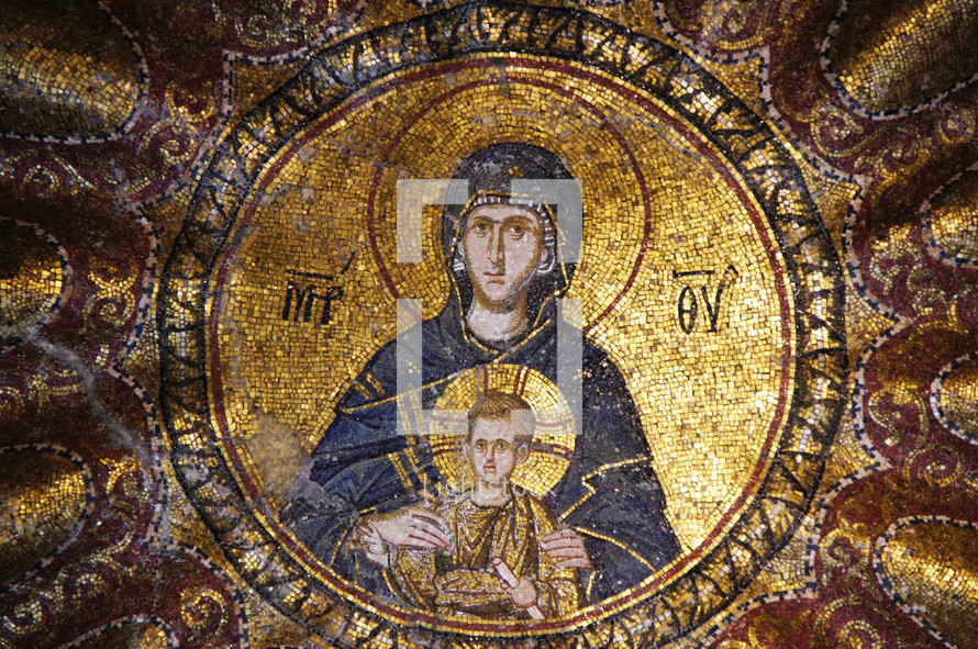 mosaic of Mary and Jesus