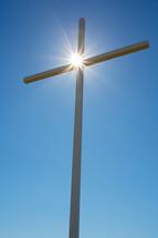 Wooden cross in the sky