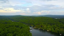 Drone flying over deep creek