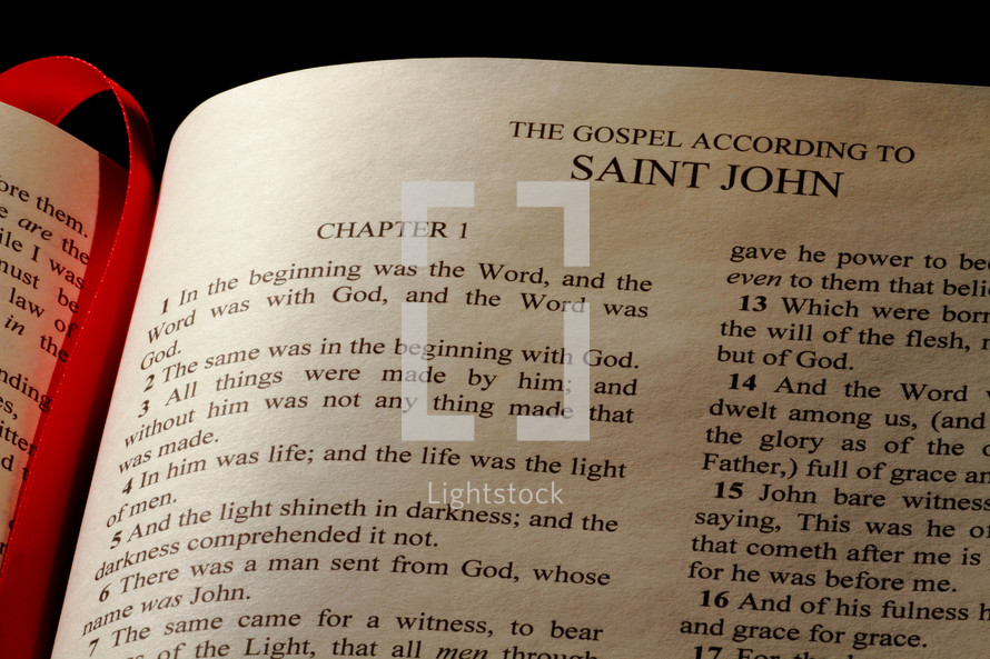 Open Bible in the Book of John