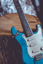 engagement ring on an electric guitar