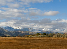 field and snow capped mountains