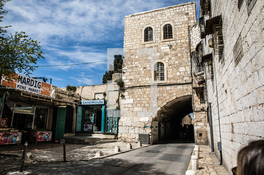 mini market and street tunnel in Jerusalem