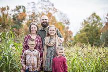 family portrait in a corn field