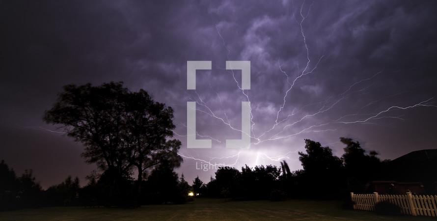Lightning storm at night