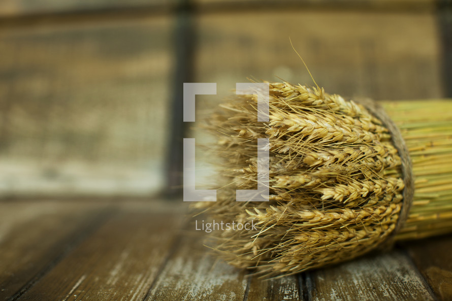 Bushel of wheat sitting on a wood table