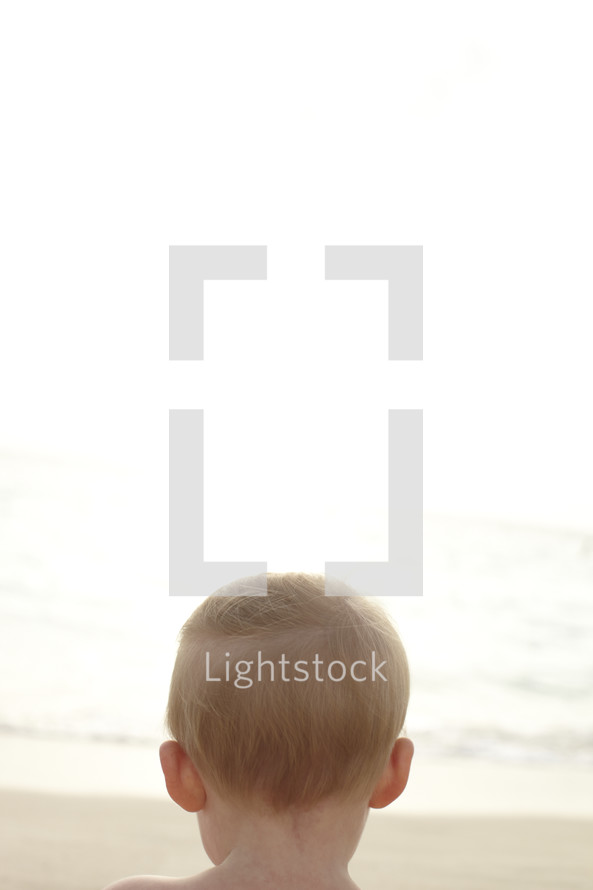 The back of a young boy's head looking out at the ocean