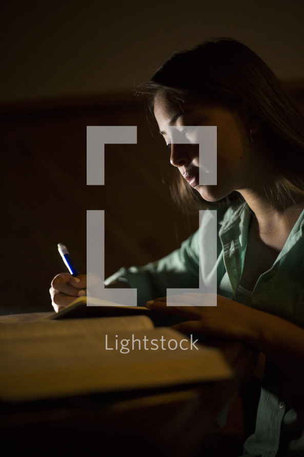 girl studying from an opened book