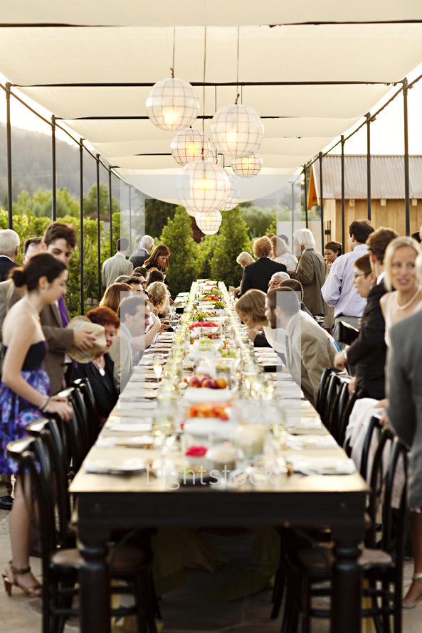 Wedding party long table diner celebration outdoor