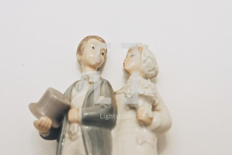 porcelain bride and groom cake topper