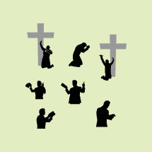 silhouettes of men in prayer