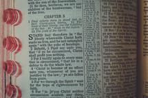 Bible open to Galatians 5.