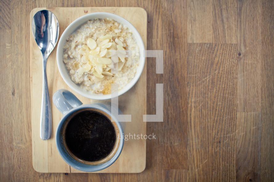 Porridge Almonds and Honey and a coffee mug