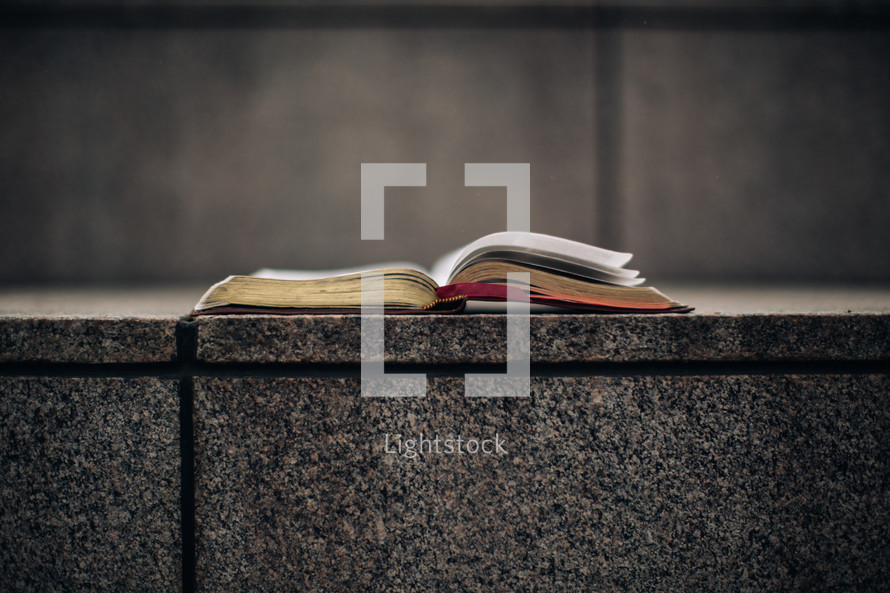 open Bible on steps