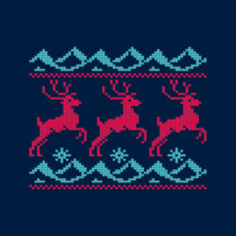 reindeer cross stitched scene