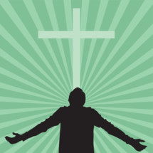 silhouette of a man with his face turned to God