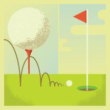 golf ball, golf tee, putting green