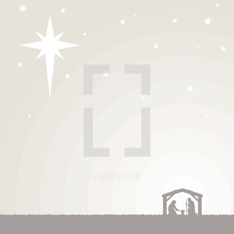 A Christmas background with the star and nativity.