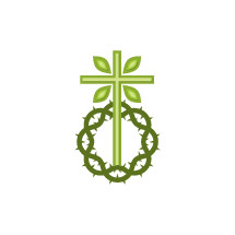 green tree cross and crown of thorns