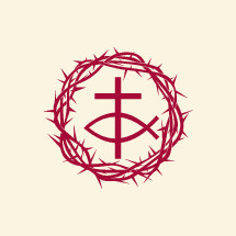 crown of thorns, Jesus fish, and cross icon in red