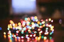 bokeh colorful Christmas lights