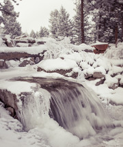 snow and frozen water in a stream