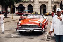 vintage cars on downtown streets in Havana, Cuba