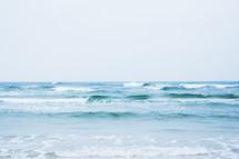 Ocean waves on the beach.