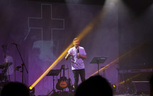 preacher holding a microphone