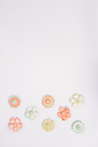 paper flowers on white background