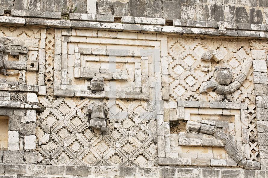 detail on Uxmal Mayan Ruins at Yucatan Mexico