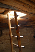 wood ladder in a cellar