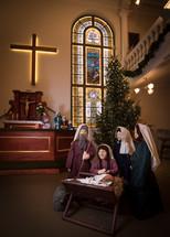 Christmas tree, figurines, Mary, Joseph, Baby Jesus, Christmas, church, nativity