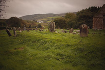 old cemetery on a green hilltop