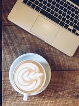 laptop keyboard and latte