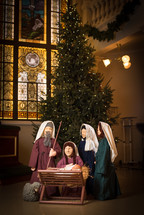 Christmas tree, figurines, Mary, Joseph, Baby Jesus, Christmas, church