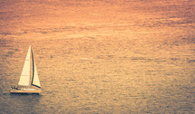 yacht sailboat on the ocean at sunset