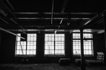 light through a window in a warehouse