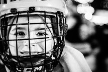 child in a hockey mask
