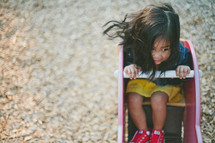 A little girl playing on playground equipment.